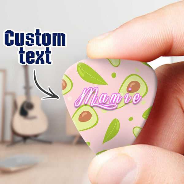 Custom Engraved Guitar Pick 6pcs Avocado