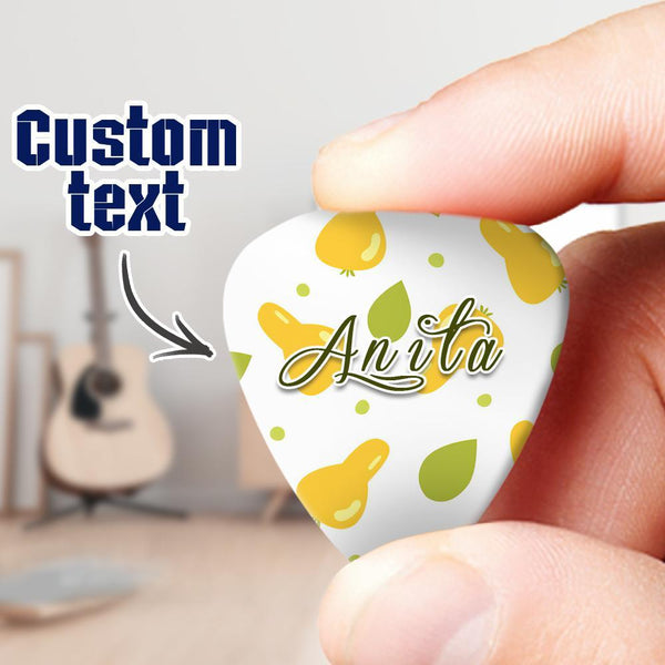 Engraved Guitar Pick 6pcs a Set Pear