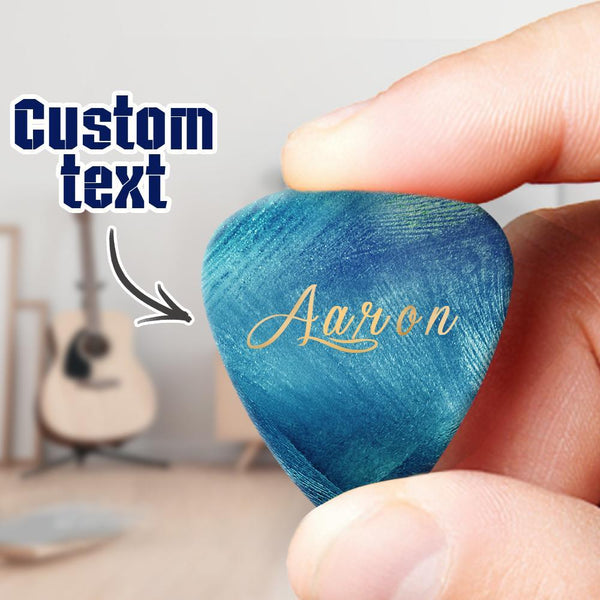 Engraved Guitar Pick Blue 6pcs a Set