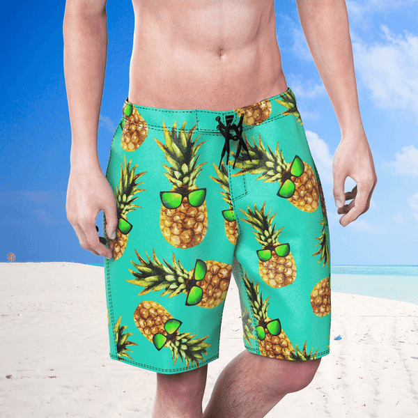 Pineapple With Sunglass Summer Men's Beach Shorts Swim Trunks