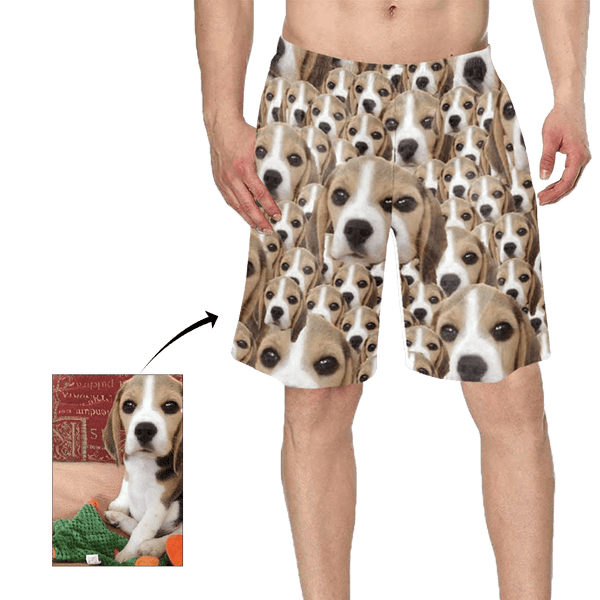 Custom Cute Face Dog Photo Man's Swim Trunk
