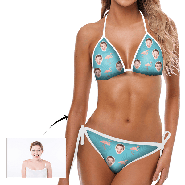 Custom Head Photo Flamingo and Blue Background Bikini Sexy Suit