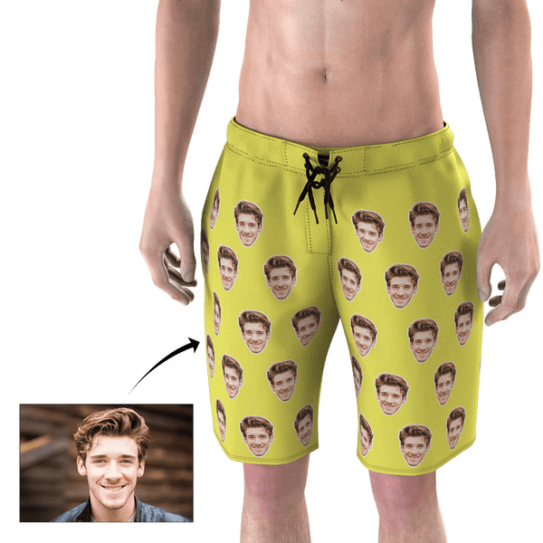 Custom Head Photo Gold Yellow Men's Beach Trunks