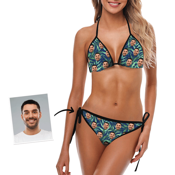 Personalized Bikini Custom Photo Swimsuit Monstera