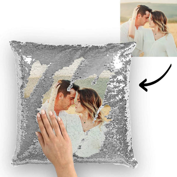 Custom Silver Sequin Pillow Photo Magic Sequins Pillow Multicolor Shiny 15.75''*15.75''