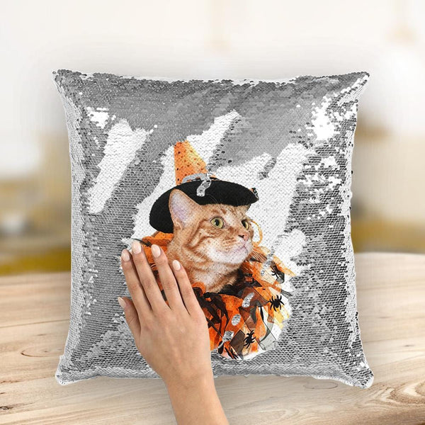 Custom Halloween Photo Pillow Magic Sequin Pillow 15.75''*15.75''