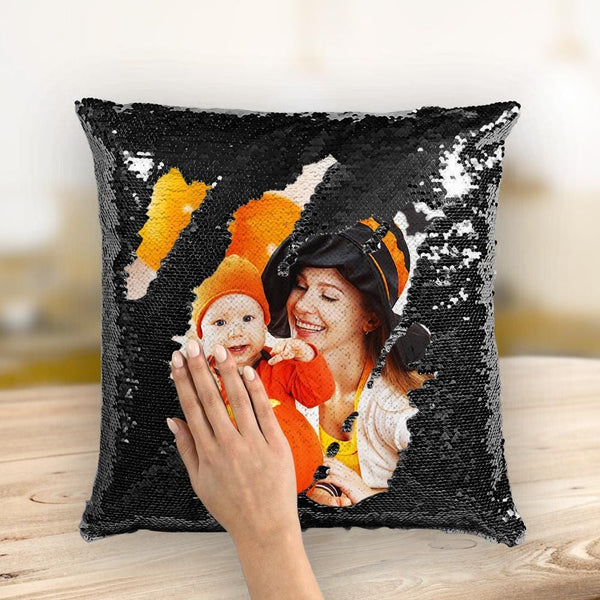 Custom Photo Pillow Halloween Sequin Pillow 15.75''*15.75''