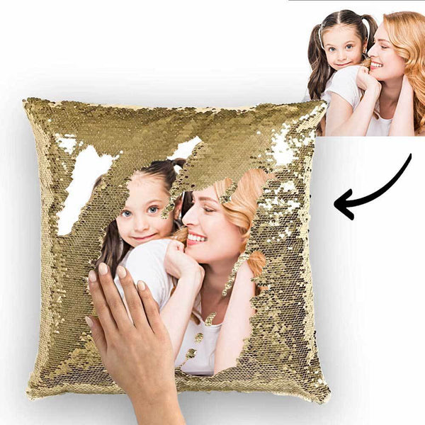 Mother's Day Gifts Custom Sequin Pillow Couple Photo Personalized Magic Sequins Pillow Multicolor Shiny 15.75''*15.75'' - For Mom