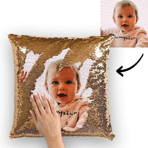 Photo Magic Golden Sequins Pillow Multicolor Shiny Gift for Baby 15.75''*15.75''