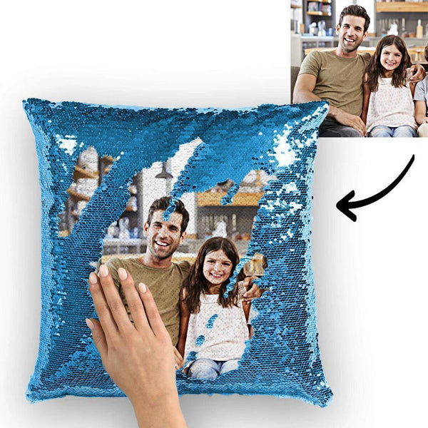 Custom Sequin Pillow Family Photo Magic Sequins Pillow Multicolor 15.75''*15.75''
