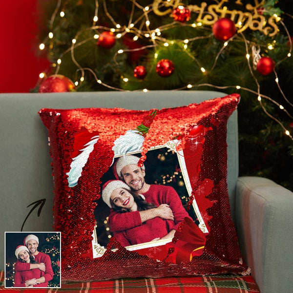 Custom Photo Pillow Sequin Pillow for Christmas Red Pillow Christmas Gifts