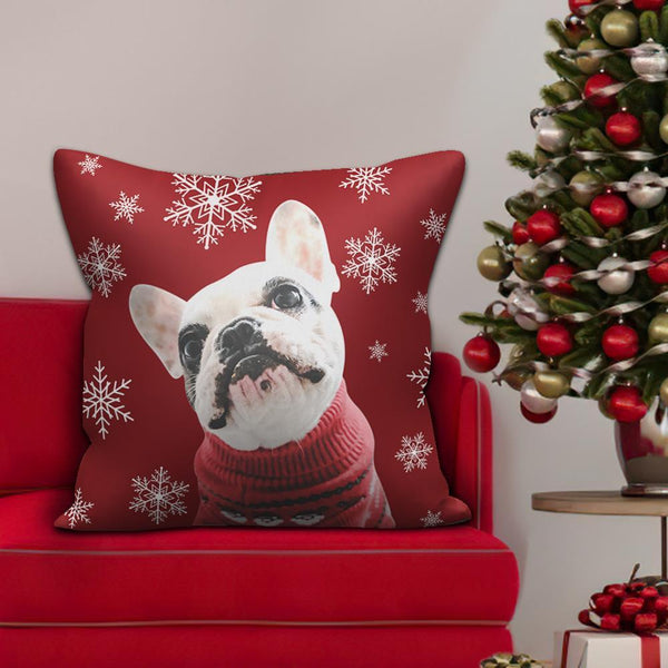 Custom Red Photo Pillow for Pet Lover Christmas Gifts