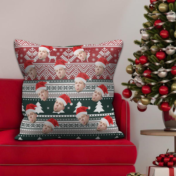 Custom Face Pillow with Christmas Hat Christmas Gifts