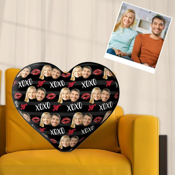 Custom Face Pillow Valentine's Day Gift - Black