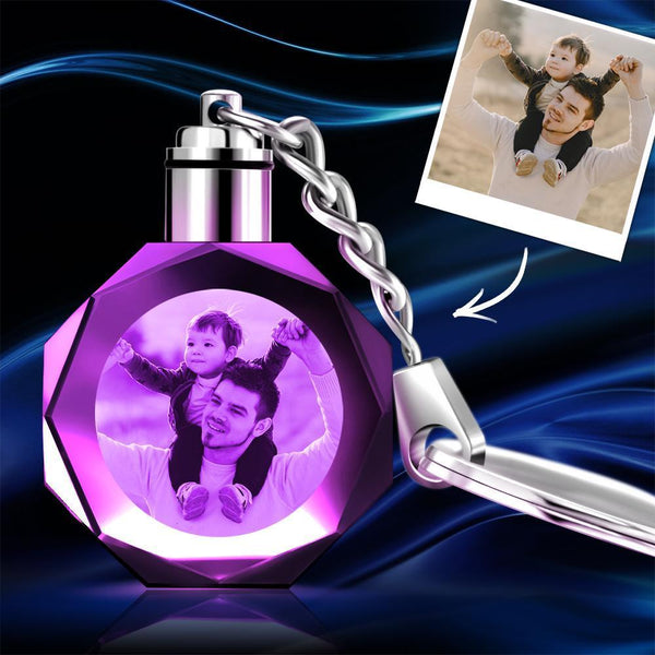 Custom Crystal Photo Keychain Octagon