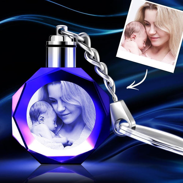 Custom Crystal Octagon Photo Keychain - For Mom