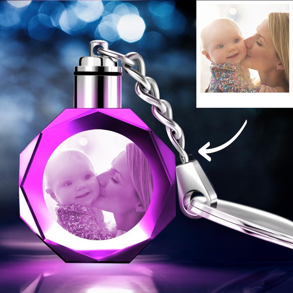Custom Crystal Photo Keychain Octagon - Gifts for Mom