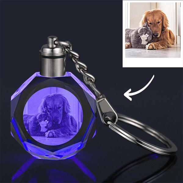 Custom Crystal Photo Keychain Lovely Pet