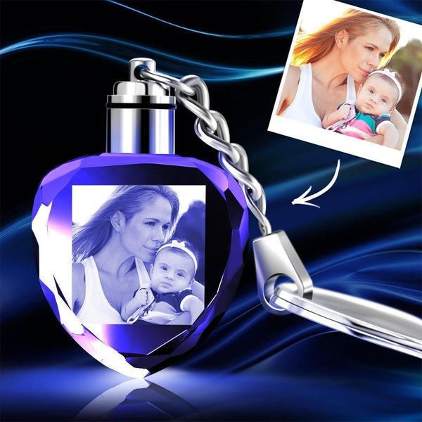 Custom Crystal Photo Keychain Heart - Mother's Day Gifts