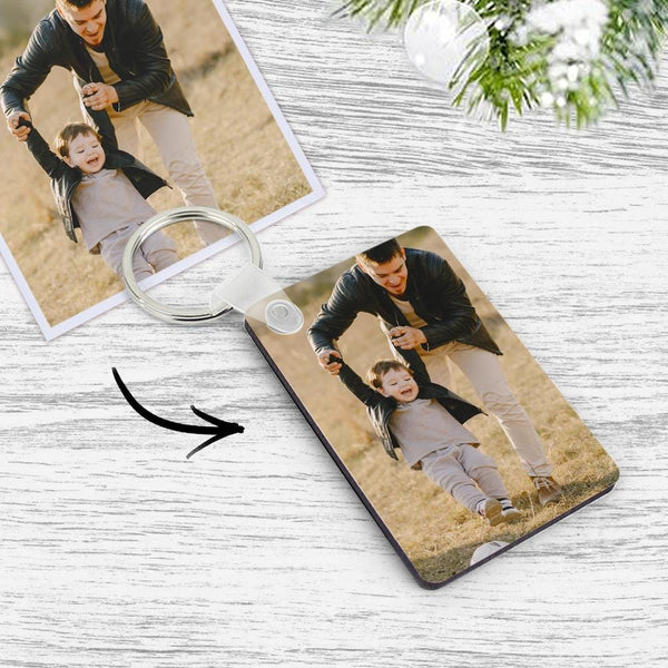 Custom Photo Keychain Memory Gift Wooden Keychain