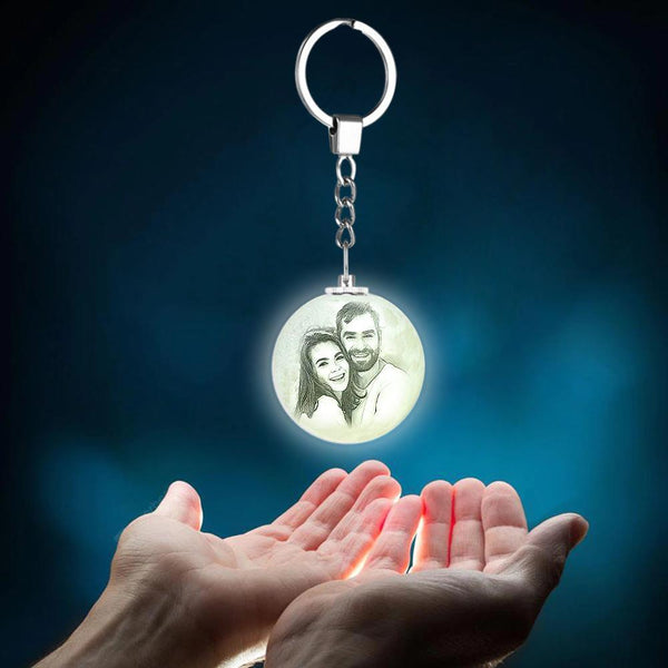 Photo Moon Lamp Keychain Custom Keychain Gifts For Anniversary