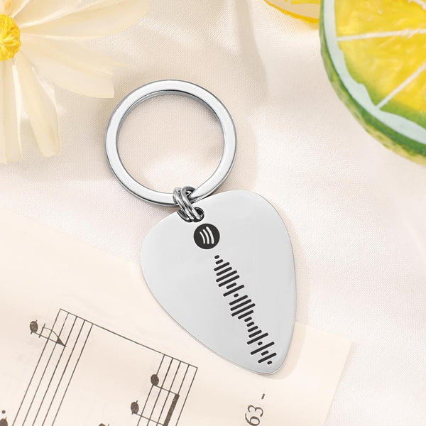 Spotify Keychain & Guitar Pick 2 in 1 Custom Song Keychain Birthday Gift For Him
