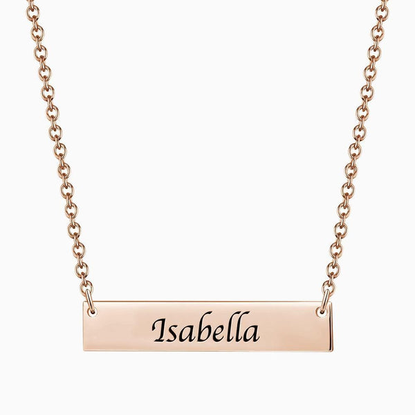 Children's Engraved Bar Necklace Silver