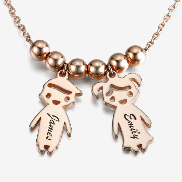 Children Charms Necklace Smile Face Mom Jewelry