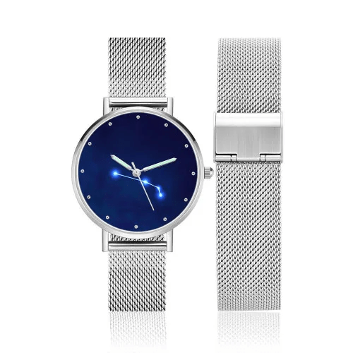 Ladies Watch 36mm-Aries Constellation Watch With Luminous Pointer Alloy Bracelet