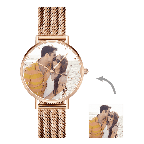 Father's Day Gift - Men's Engraved Rose Gold Alloy Bracelet Photo Watch 40mm