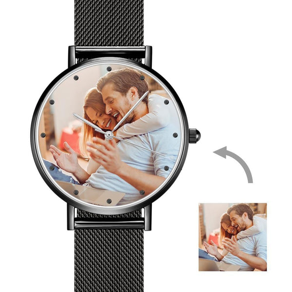 Father's Day Gift -Men's Engraved Black Alloy Bracelet Photo Watch 40mm