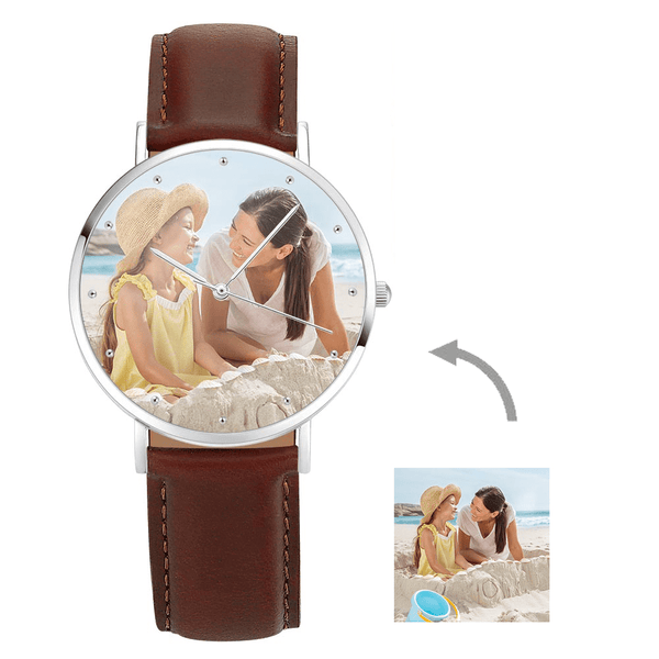 Men's Engraved Photo Watch Brown Leather Strap 40mm
