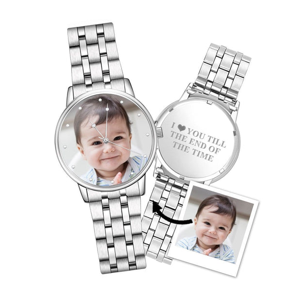 Unisex Engraved Alloy Bracelet Photo Watch 40mm- Silver Alloy Bracelet