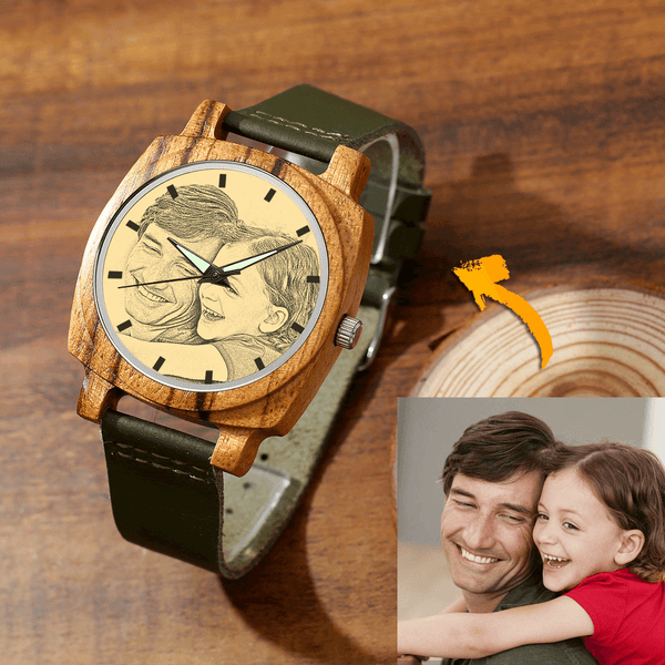 Men's Engraved Bamboo Photo Watch Father And Daughter Dark Green Leather Strap 45mm