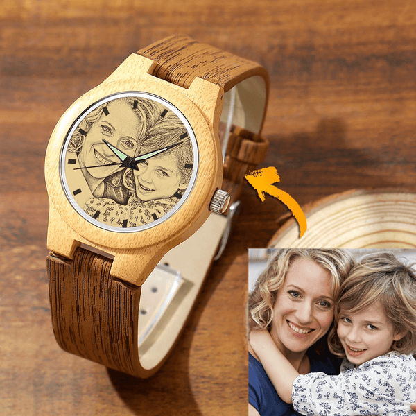 Women's Engraved Bamboo Photo Watch Super Mom Leather Strap 40mm