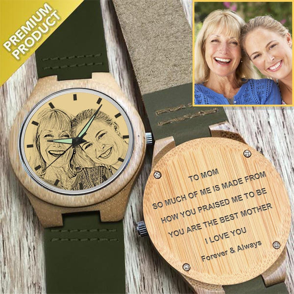 To Mom Engraved Bamboo Photo Watch Dark Green Leather Strap 40mm-Mom,I Love You Forever