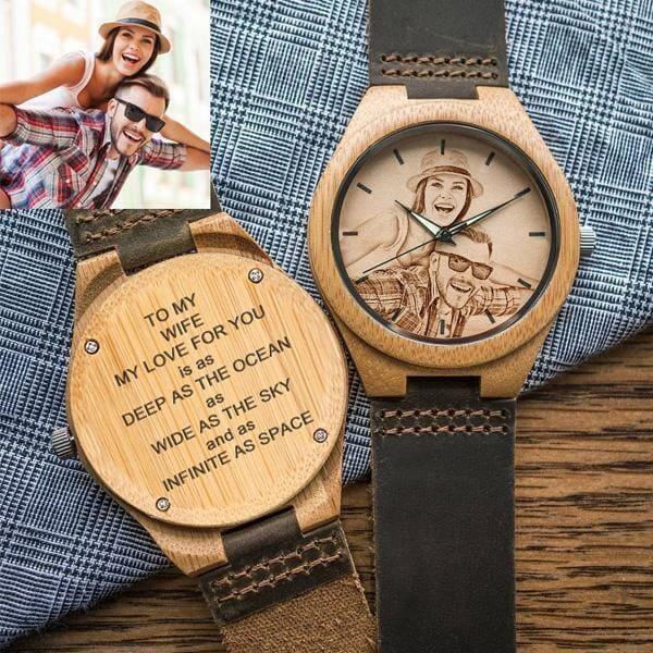 To My Wife - Custom Engraved Bamboo Photo Watch Leather Strap