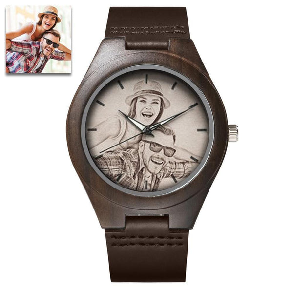 To My Husband - Custom Engraved Wooden Photo Watch Leather Strap 45mm
