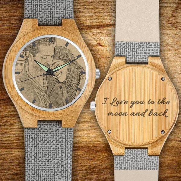 Men's Engraved Bamboo Photo Watch Sweet Style Grey Leather Strap 45mm