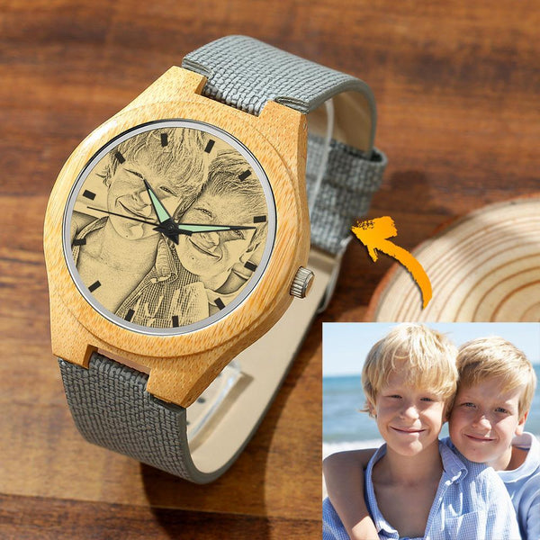 Women's Engraved Bamboo Photo Watch Brother Grey Leather Strap 40mm