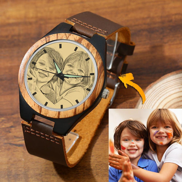 Men's Engraved Wooden Photo Watch Lovely Kids Brown Leather Strap 45mm