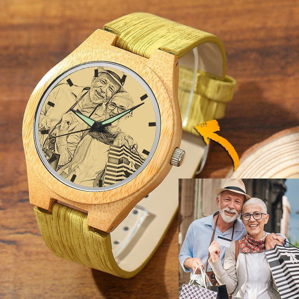 Men's Engraved Bamboo Photo Watch For Grandparents Leather Strap 45mm