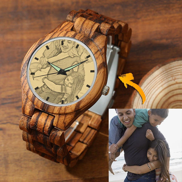 Men's Engraved Photo Super Father Watch Wooden Strap 45mm