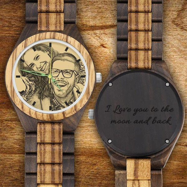 Men's Engraved Wooden Photo Watch My Loved Boy Strap 45mm
