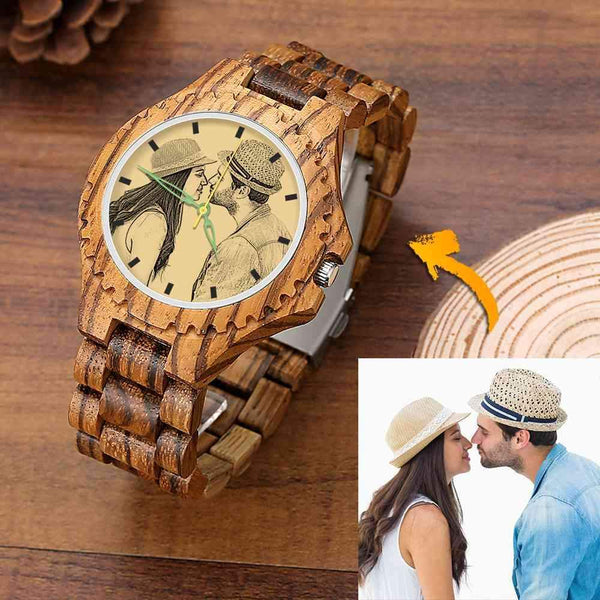 Men's Engraved Wooden Photo Watch Kiss Kiss Wooden Strap 45mm