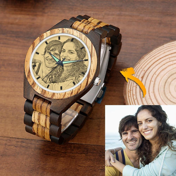 Men's Engraved Wooden Watch Be With U Strap 45mm
