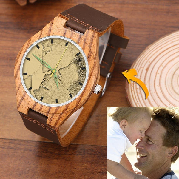 Men's Wooden Photo Watch Loved Father Brown Leather Strap 45mm