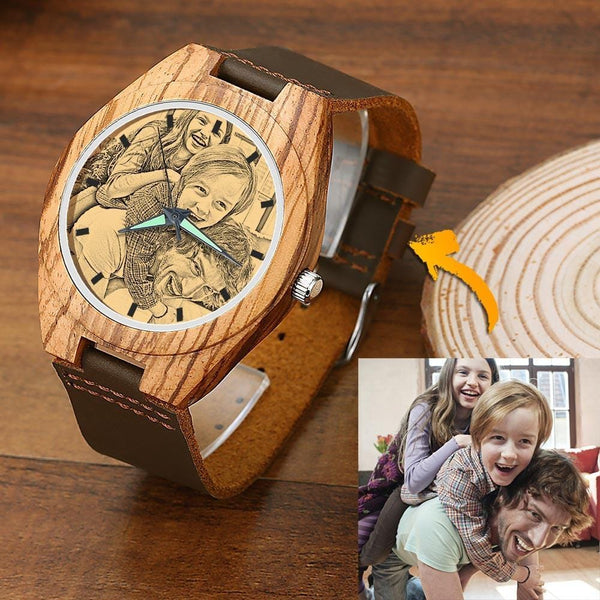Men's Wooden Photo Watch Father's Gift Brown Leather Strap 45mm