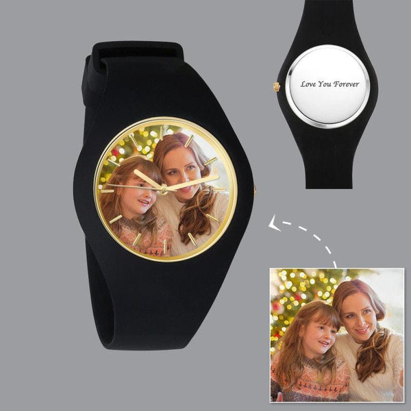 Fashion Watch Men's Silicone Engraved Photo Watch 41mm Black Strap