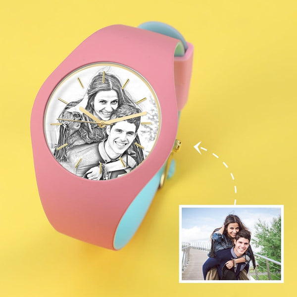 Waterproof Engraved Photo Watch Love You 41mm Pink And Blue Bands-Sketch